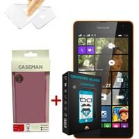 Case Man Nokia Lumia 535 Silikon Kılıf + 9H Temperli Ekran Koruyucu