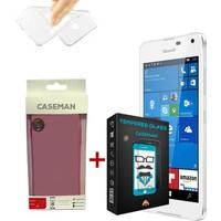 Case Man Nokia Lumia 650 Silikon Kılıf + 9H Temperli Ekran Koruyucu