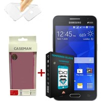 Case Man Samsung Galaxy Core 2 Silikon Kılıf + 9H Temperli Ekran Koruyucu