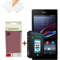 Case Man Sony Xperia Z1 Silikon Kılıf + Kırılmaz Cam 9H Temperli Ekran Koruyucu