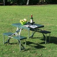 Direkstoktan Katlanır Çanta Tipi Piknik/Kamp Masası Seti 4 Kişilik / YEŞİL RENK