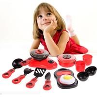 Trendelektro Mutfak Oyuncak Eğitici Pişirme Seti Kırmızı 14 Parça