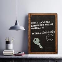 Evvedesign Dekoratif Kara Tahta, Yazı Tahtası, Tebeşir Tahtası, Ahşap Çerçeveli Kara Tahta