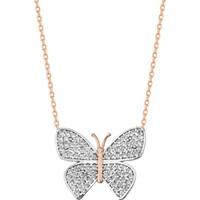 Palimor Beyaz Taşlı Kelebek Kolye