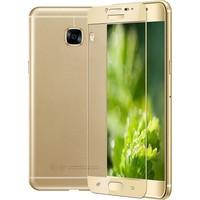 KılıfShop Samsung Galaxy C9 Pro Tam Kavisli Kırılmaz Ekran Koruyucu Gold