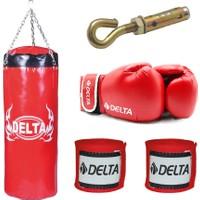 Delta Boks Torbası Seti 120 x 35 -Kırmızı (1 Çift Boks Eldiveni - 1 Çift Kol Bandajı - Tavan Askı Aparatı) - DBTK