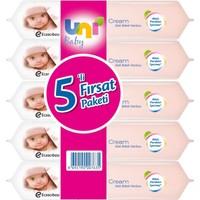 Uni Baby Cream Islak Havlu 5'li Fırsat Paketi / 280 Yaprak