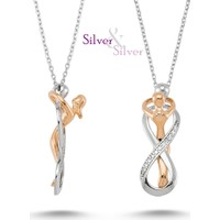 Silver & Silver 925 Ayar Gümüş Altın Kaplama Sensiz Asla Kolye
