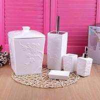 Pinkev 5 Parça Beyaz Seramik Banyo Seti