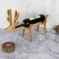 Dekorjinal Ahşap Geyik Şaraplık Dock022