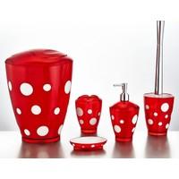 Indecor Çift Renkli Puantiyeli 5'Li Banyo Seti - Kırmızı
