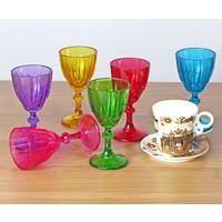 Joy Glass 6'lı Diamond Renkli Kahve Yanı Su Bardağı