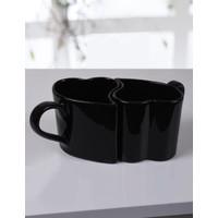 Keramika 2 Adet Kalp Kupa Siyah