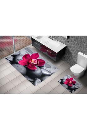 Cici 2'Li Klozet Takımı Kırmızı Çiçek 60X100 Cm
