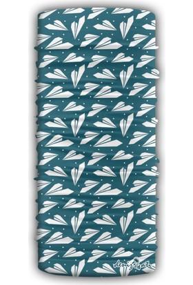 Denizatı Mavi-Beyaz Desenli Bandana