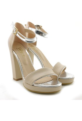 Lady Angel 1005-010 Krem Gümüş Yüksek Topuk Kadın Ayakkabı