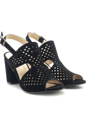 Lady Angel 1200-01 Siyah Kare Topuk Kadın Ayakkabı