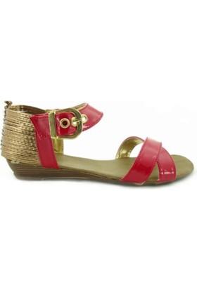 Pinecane Kırmızı Atkılı Günlük Kadın Sandalet