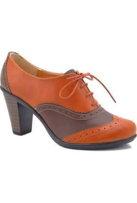 Lady Sweet Taba Kahverengi Oxford Topuklu Kadın Ayakkabı
