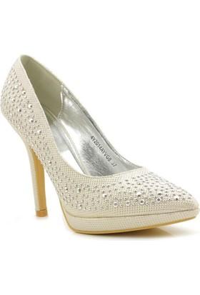 Vogue Lame Gümüş Topuklu Taşlı Kadın Ayakkabı
