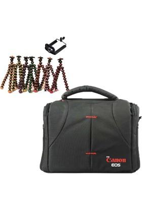 Canon DSLR Omuz Çantası Set Çanta + Mini Tripod Gorillapod - Sarı
