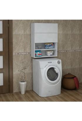 Sanal Mobilya Terni Çamaşır Makinesi Dolabı Üst Modül Banyo Çok Amaçlı Dolap