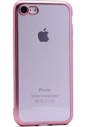Kvy Apple iPhone 7 Plus Kılıf Renkli Kenarlı Parlak Silikon +Cam