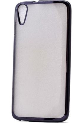 Kvy HTC Desire 828 Kılıf Renkli Kenarlı Laser Silikon +Cam