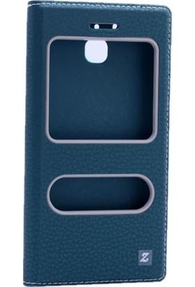 Kvy Huawei Ascend GR3 Kılıf Gizli Mıknatıslı Kapaklı +Cam