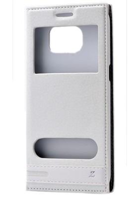Kvy Samsung Galaxy S7 Kılıf Gizli Mıknatıslı Pencereli