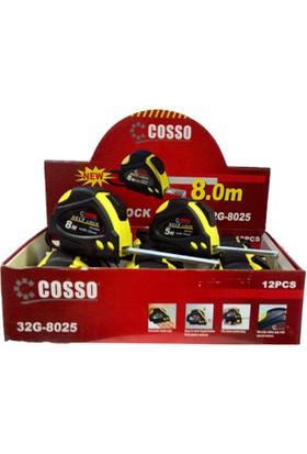 Cosso 10M X 25Mm Şerit Metre (Kaplamalı) 12Lı Paket