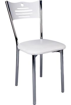 Evistro Ahşap Mutfak Ve Balkon Sandalyesi 4 Adet Beyaz