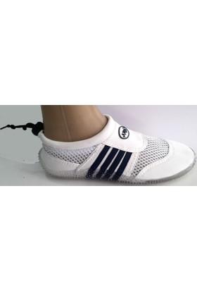 Ahs Çocuk Çizgili Beyaz - Lacivert Deniz Ayakkabısı