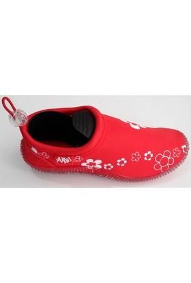 Ahs Çocuk Çiçek Desenli Kırmızı Deniz Ayakkabısı