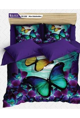 Alaca 3D Çift Kişilik Pamuk Saten Nevresim Takımı - Blue Butterfly-Evm