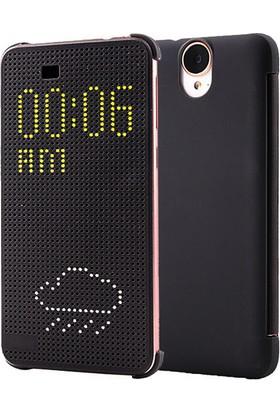 Microsonic HTC One E9+ Plus kılıf Dot View Delux kapaklı Akıllı Modlu