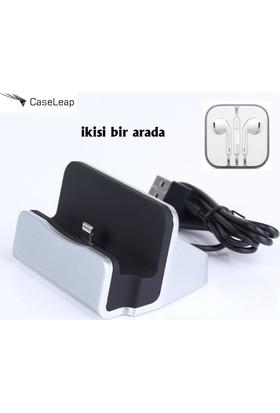 Case Leap Apple iPhone 6/6P/6S/6PS Masa Üstü Standlı Şarj Seti Gümüş Dock + Kulaklık