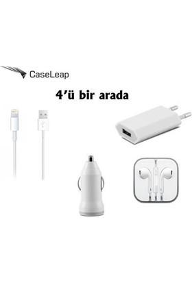 Case Leap Apple iPhone 6/6P/6S/6PS 3in1 Ev ve Araç Şarjı Data Kablosu + Kulaklık (iOS 10.1.1 Destekli)