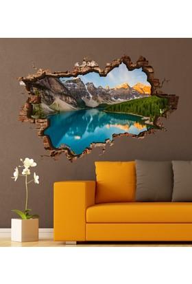 3D Art Buzul Göl – 3D Sticker 135x90 cm