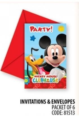 Partypark Mickey Mouse Doğum Günü Davetiye (8 Adet)