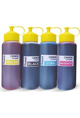 Photo Ink Canon Yazıcılar İçin Uyumlu 4 Renk 500 Ml Mürekkep Seti