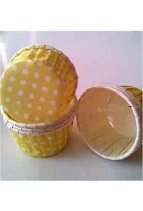 Sweetsorcery Sarı Üzerine Beyaz Puantiyeli Cupcake Pet Kapsül 25 Adet