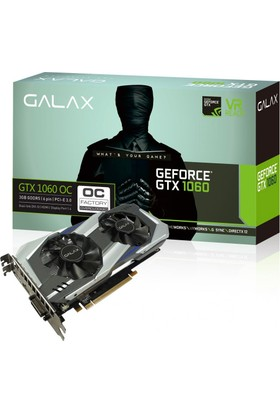 Galax Nvidia GeForce GTX1060 OC 3GB 192Bit DDR5 (DX12) PCI-E 3.0 Ekran Kartı 60NNH7DSL9C3