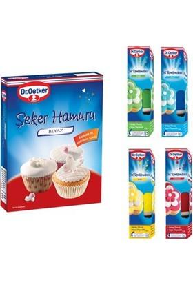 Sweetsorcery Dr. Oetker 400 Gr Beyaz Şeker Hamuru + 4 Adet Renklendirici Jel Set