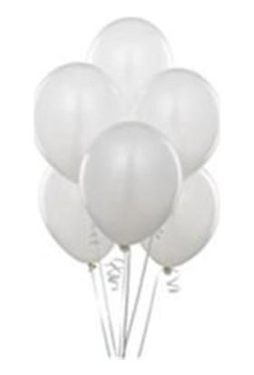 Sweetsorcery Beyaz Metalik Balon 8'Li