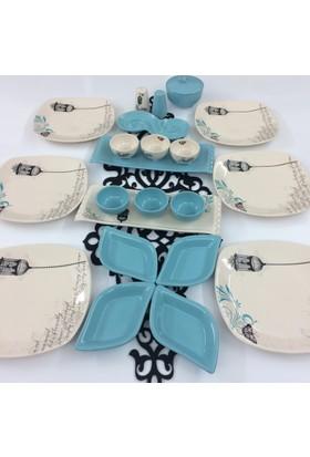 Keramika Retro Turkuaz 23 Parça Kahvaltı Takımı