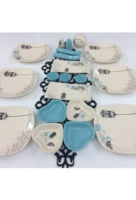 Keramika Retro Turkuaz 21 Parça 6 Kişilik Kahvaltı Takımı