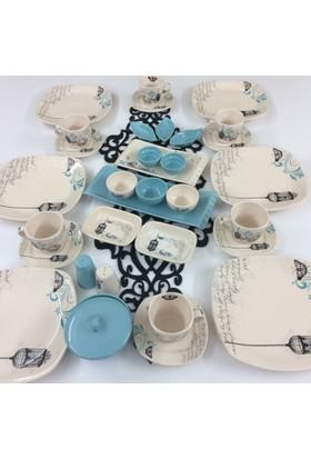 Keramika Retro Turkuaz 34 Parça 6 Kişilik Kahvaltı Takımı