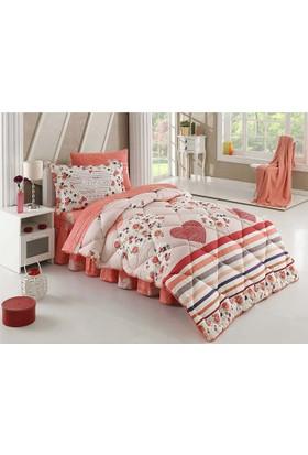 Hobby Poplin Tek Kişilik Uyku Seti Bella Kırmızı