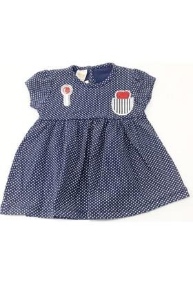 Deco Puanlı Kız Bebek Elbisesi Lacivert